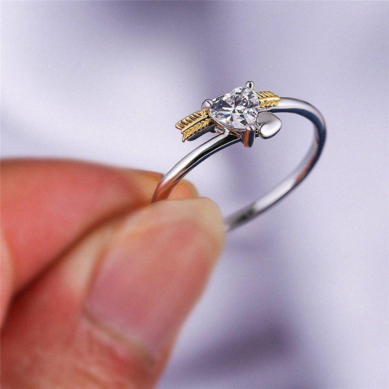 Los anillos de boda anillo de compromiso femenino lindo pequeña flecha Corazón del anillo de oro de la plata de novia de época pequeñas circón para las mujeres jLNA #