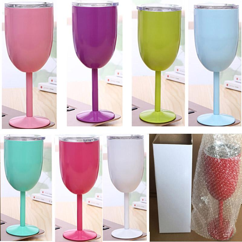 10oz Wine Glasses Stainless Steel Double Vacuum Double layer thermo cup Drinkware Wine Glasses Red Wine Mugs Xmas TY7-296
