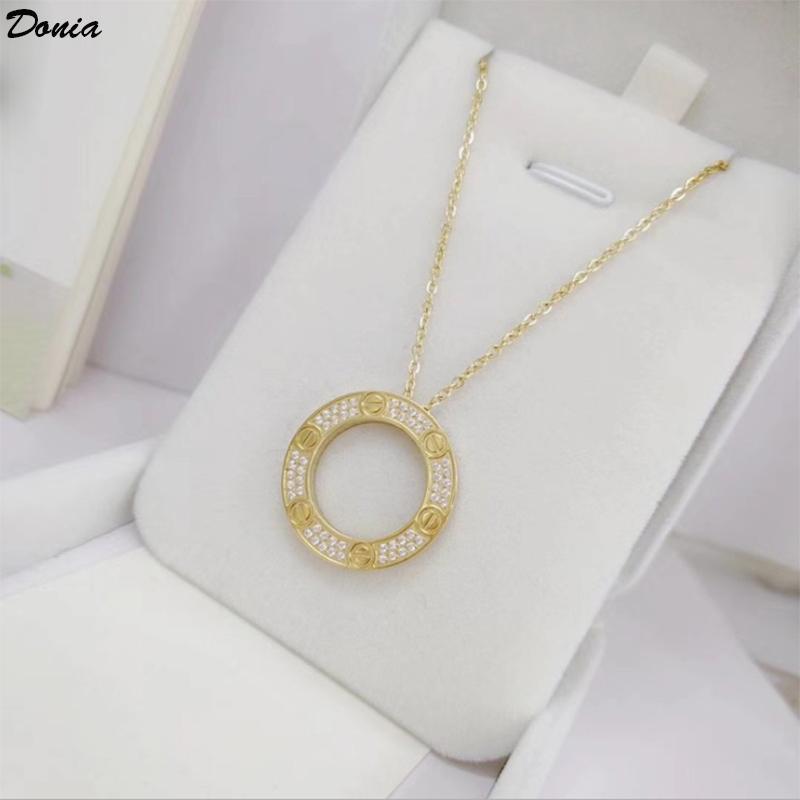 Donia Schmuck europäischen und amerikanischen Modedesigner Halskette Liebe zwei Farbe Titan plattierten Stahl Halskette mit runden Zirkon Geschenk Halskette