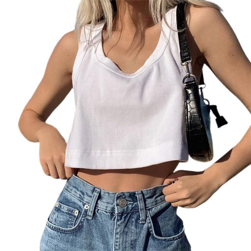 Koşu Formaları Moda Rahat Katı Renk Yelek Kadın Kolsuz Gevşek Tatil Hip Hop Dans Spor Kırpma Tops Tankı Streetwear