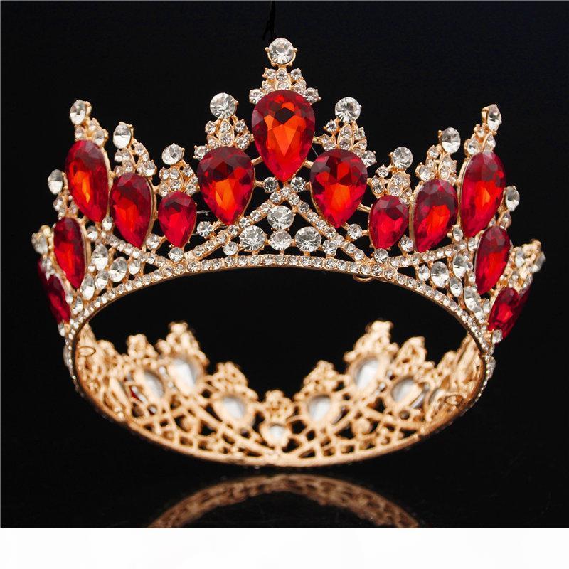 Joyería barroca novia del oro de la corona de la reina Rey Gran Corona Tiara Prom diadema pelo de la boda tiaras y coronas diadema de pelo Adornos J190701