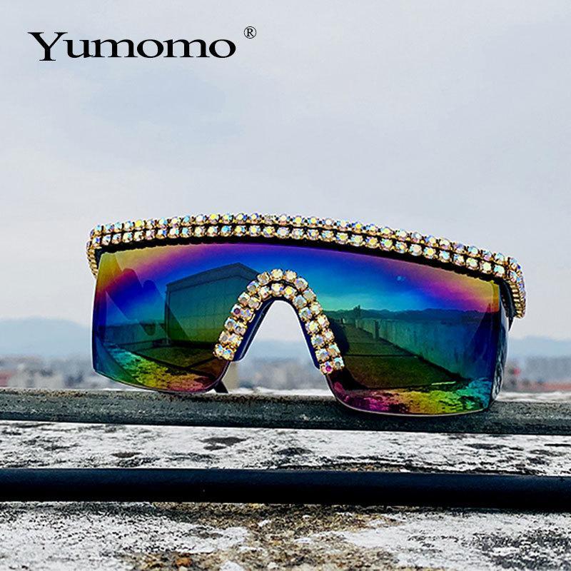 Moda Lover de gran tamaño espejo Las mujeres de una pieza de lujo de los hombres de cristal de Google gafas de sol Eyewear UV400