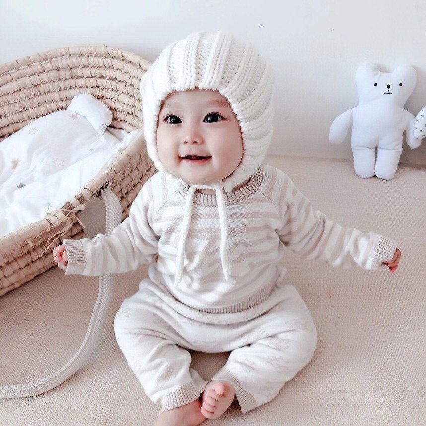 سترة الرضع حديثي الولادة ملابس الطفل مجموعة الخريف القطن الشتاء الحياكة طويلة الأكمام البلوفرات + بنطلون بدلة الأطفال ملابس الأطفال
