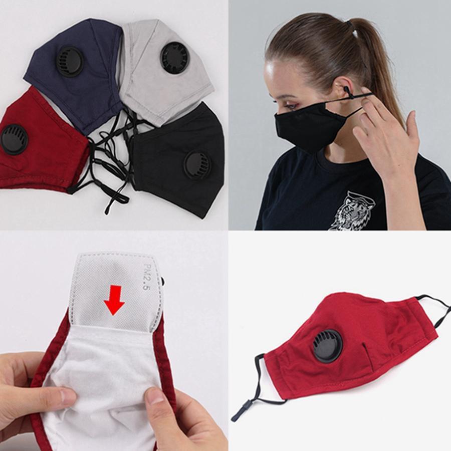 Maschera di cotone viso con maschere Valve riutilizzabile lavabile antipolvere viso della mascherina protettiva regolabile Earloop singolo pacchetto HHA1483