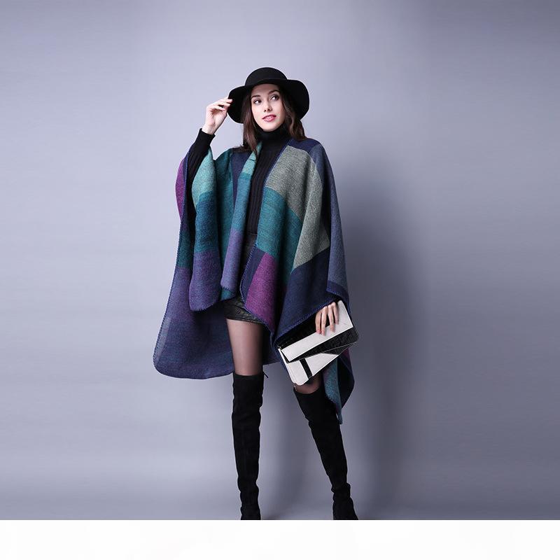 Morbido donna di griglia della sciarpa di modo inverno caldo scialli Esterni signore mantello di lana Festa di Natale del Capo LT-TTA1254