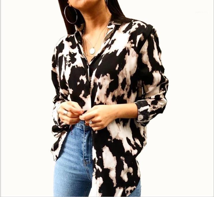 Womens Tie Dye Leopard Shirts 5xl Woman Spring Lapel Neck Long Sleeve Blouse Women Fashion High Street Clothes