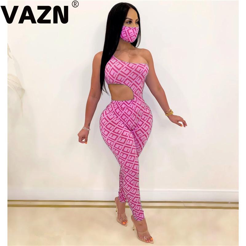 VAZN Été 2020 Vintage Print sans manches, bretelles Sexy Night Club Mode Bandage Femmes 3 Set Lady Piece avec masque T200721