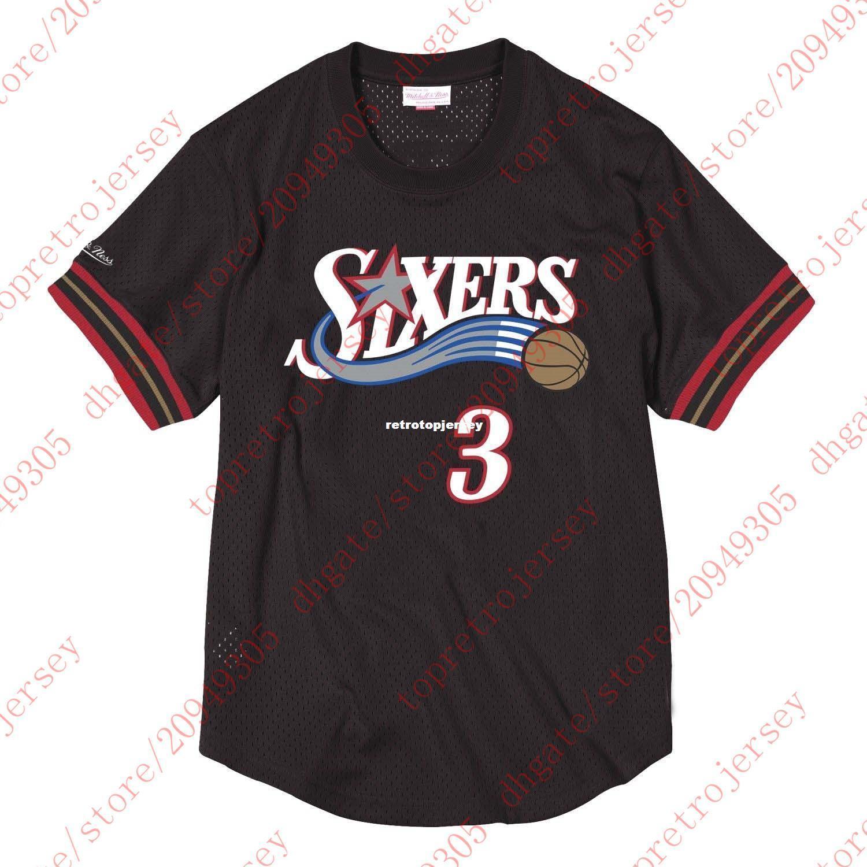 Top barato Allen Iverson personalizado # 3 Mitchell Ness Malla Negro camisa del jersey para hombre cosida tee baloncesto camisetas de NCAA
