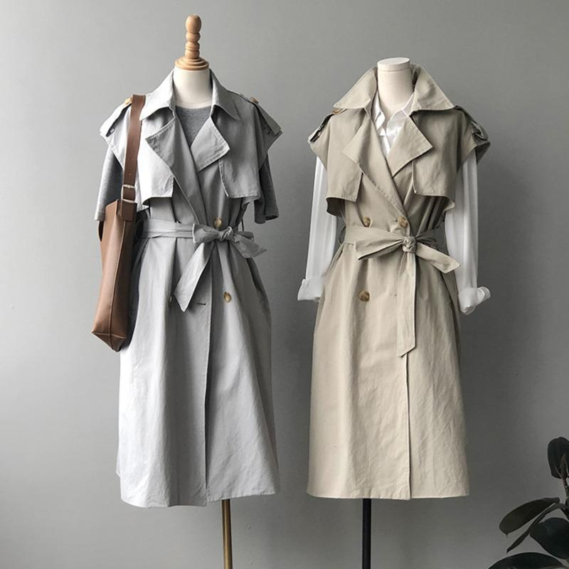2020 otoño flojo elegante con cordones de la Mujer de la capa sin mangas Fosa de pecho doble capa del chaleco recto Midi largo