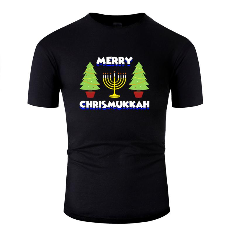 Designing Comfortable christmas hanukkah jewish apparel t-shirt 2020 black Pictures tee shirt cotton Round Collar Tee tops