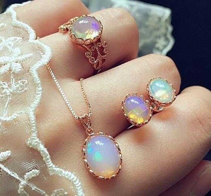 Donne Gem Jewelry Set 3 pezzi da sposa 1 Set sposa anello dell'orecchino della collana in oro rosa Gem festa di nozze accessori di trasporto
