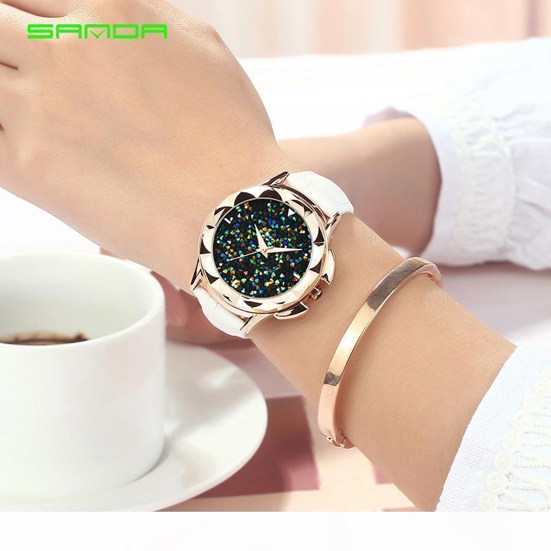 Bling Couro SANDA luxo colorido Quartz Assista Mulheres Relógio Feminino senhoras vestido de pulso do presente do ouro 2018 Relojes Mujer Saat