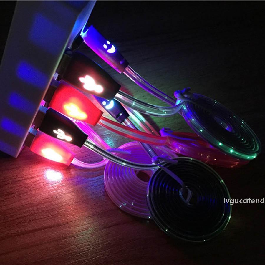 1M الوجه المبتسم مايكرو USB شاحن كبل بيانات LED الوهج سينك كابلات للكيبل سامسونج هواوي XIAOMI الروبوت مضيئة USB