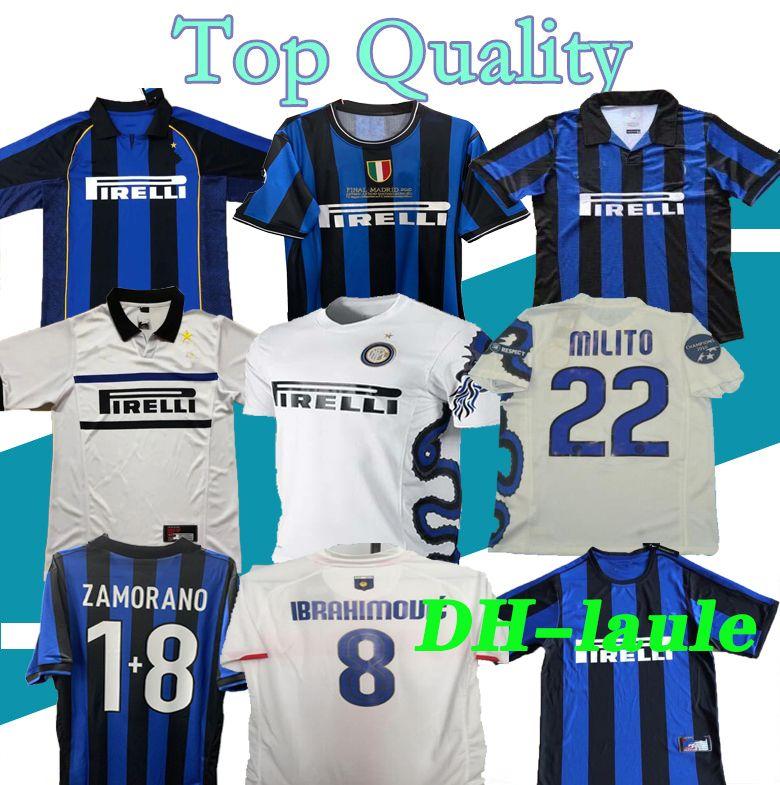 finals 2009 2010 MILITO SNEIJDER J.ZANETTI Retro Soccer jersey LUCIO Football MILAN 1998 1999 Pirlo 97 98 99 Djorkaeff Baggio RONALDO Inter