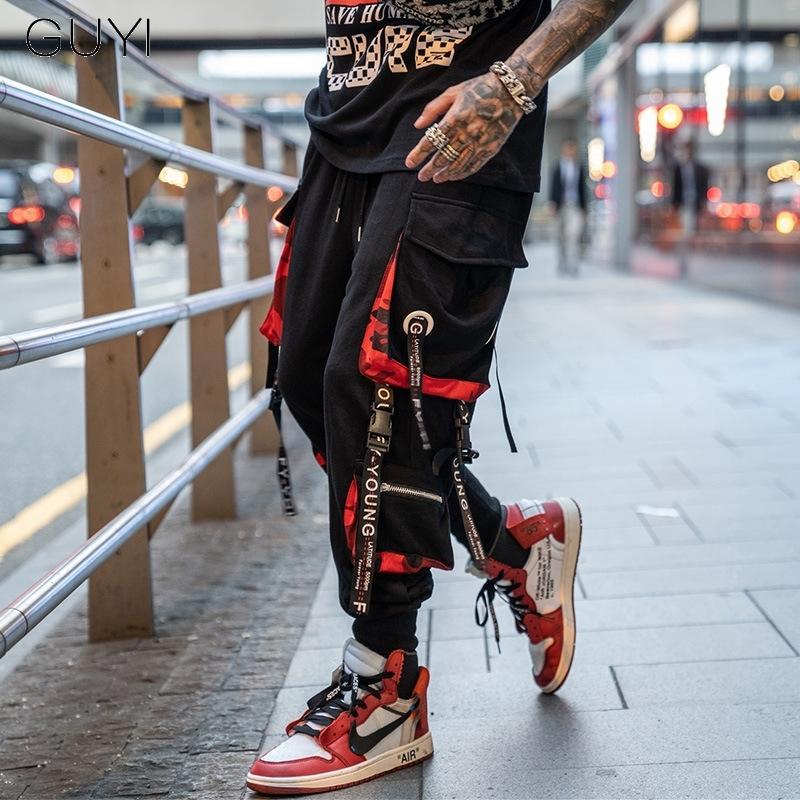 Hip Hop Joggers Cargo Pants для мужчин Блоке Hit Цвет Карманный Трек Брюки Мужской Брюки Sweatpants Streetwear Письмо Ribbons Повседневный CX200728