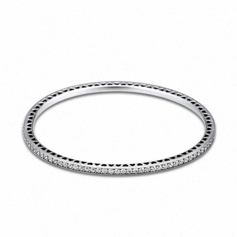 Genuina plata de ley 925 del centelleo siempre CZ clara brazaletes para las mujeres de DIY que hace Fits joyería europea Berloques Pulsera QpEt #