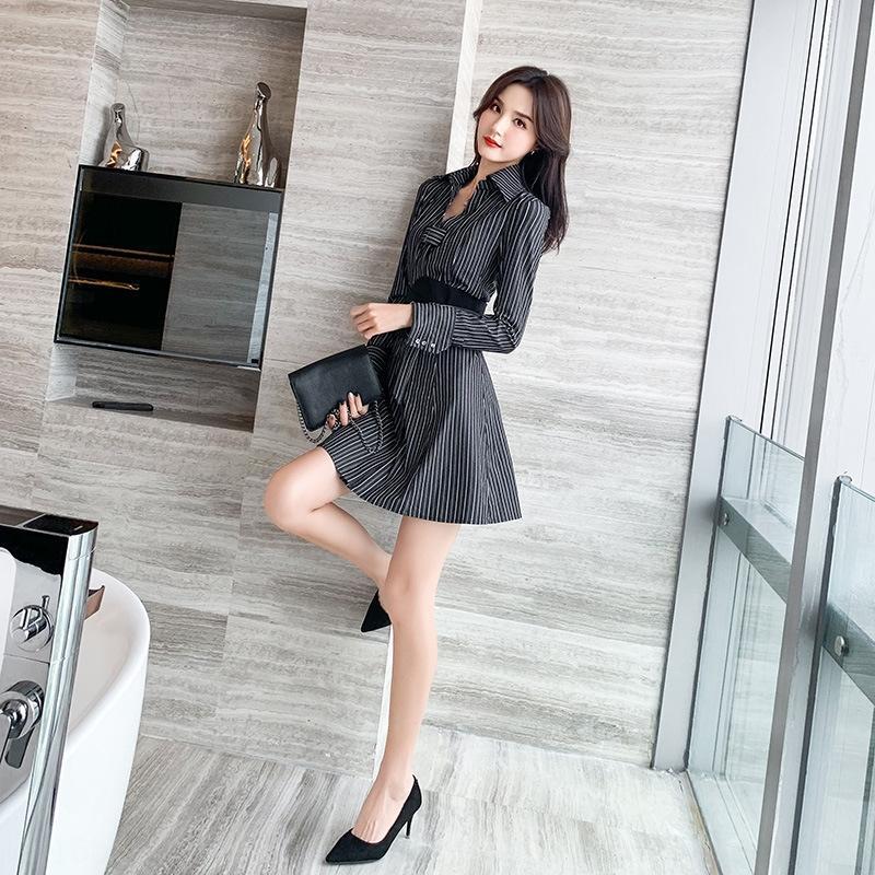 UVXB5 Kleidung Sommer 2020 koreanischen Frauen Kleid Hemdart elegante Taille schlank gestreiftes Hemd Kleid Kleidung der Frauen 9720