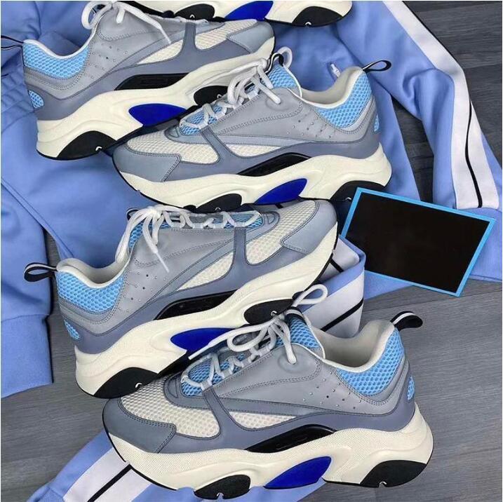 الرجال الدانتيل متابعة جلد B22 حذاء رياضة أبيض جلد العجل حذاء رياضة الأعلى حك التقنية منصة النساء حذاء رياضة أزرق رمادي الجري المدربين مع صندوق
