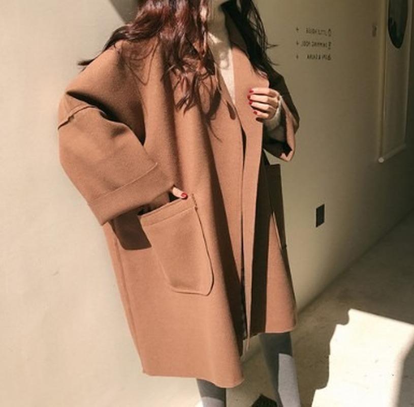 SONDR Nueva invierno elegante mezcla de lana coreana de las mujeres largas de la moda abrigos minimalista de la vendimia abrigo de lana Camel gran tamaño Outwear