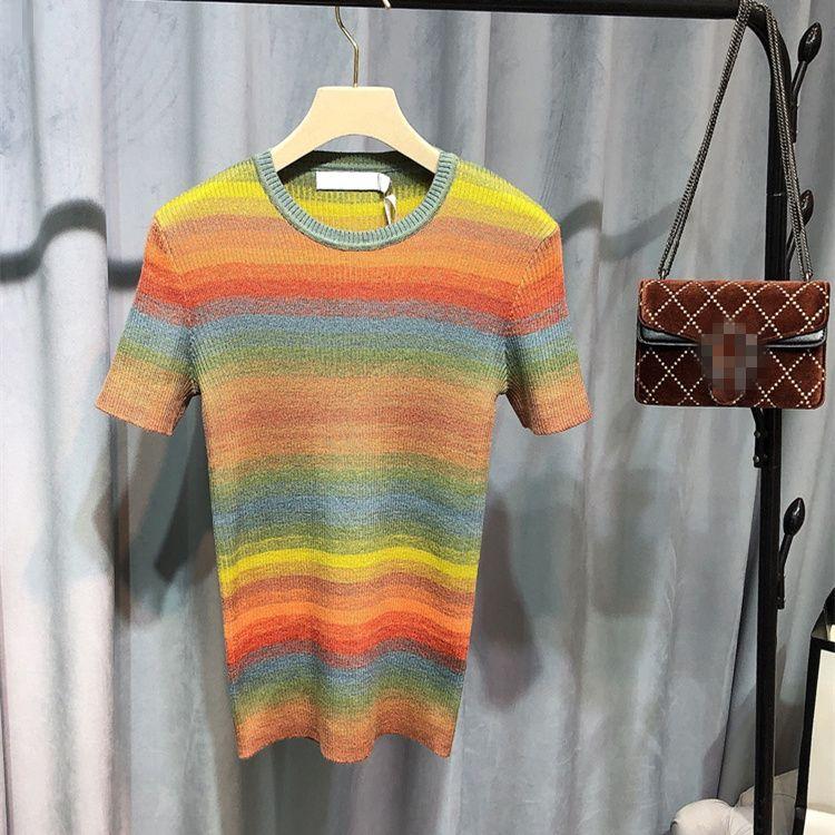 ropa de 2020 del otoño el nuevo estilo de las mujeres europeas y americanas de manga corta de jersey de punto de contraste cuello de la manera redonda de franjas de color