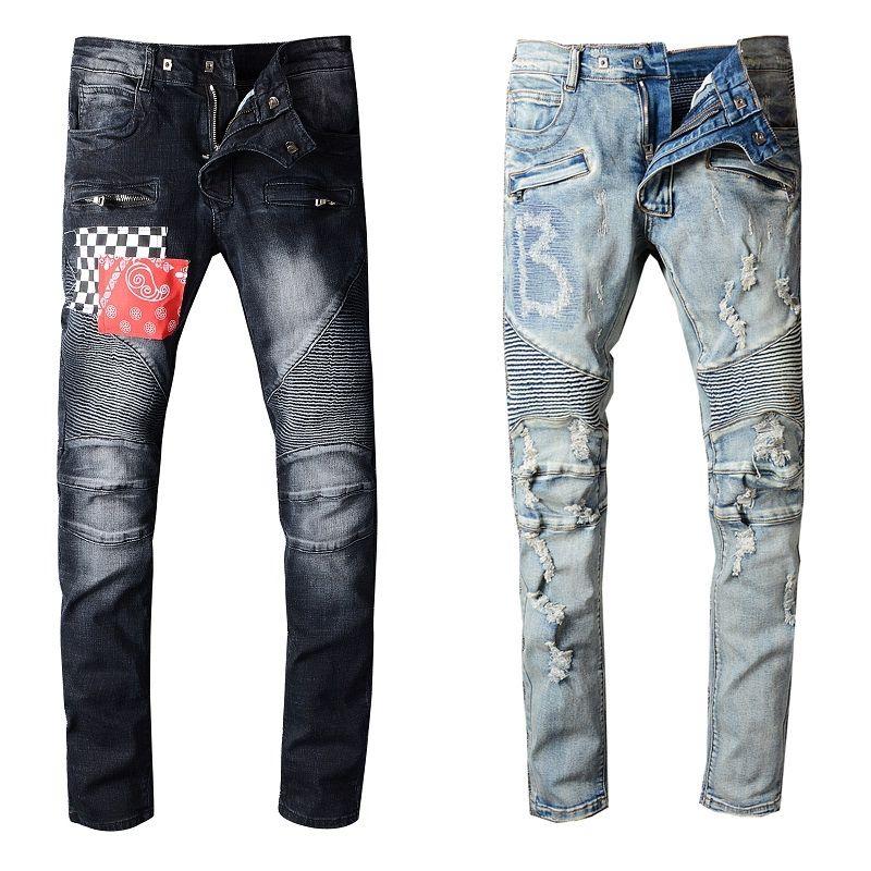 Pantalones para hombre estilista vaqueros desgastados rasgado del motorista Jean mujeres de los hombres delgados del ajuste de la motocicleta del motorista Denim Jeans para hombre Hip Hop Jeans Tamaño 29-40