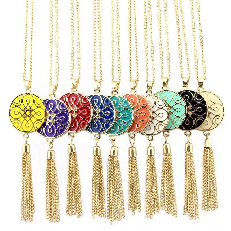 Двойные Стороны Эмаль китайского узел шаблон диск Подвесок длинное ожерелье с металлическими кистями для женщин Надлоктевых Ожерелий Драгоценных аксессуаров