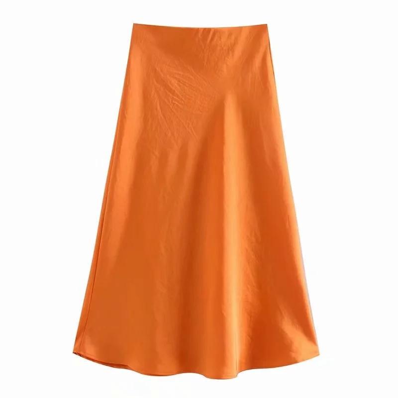 솔리드 새틴 탄성 허리 여성 미디 스커트 2020 새로운 패션 캐주얼 레이디 슬림 - 라인 스커트 P1596