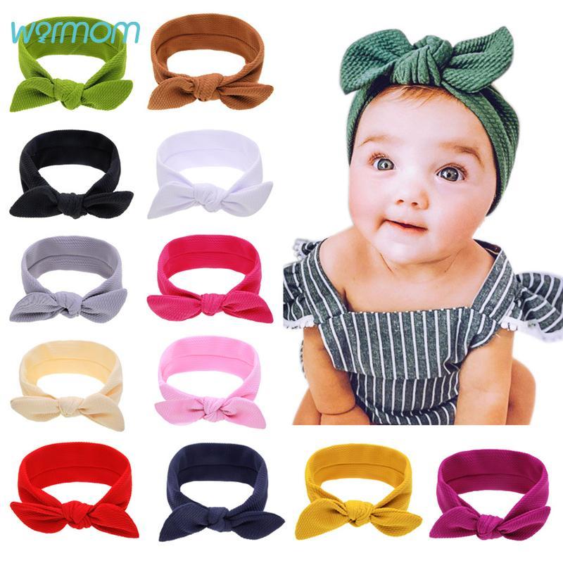 Warmom Bebek Kız Kulaklar Kafa Yenidoğan Katı Renk Prenses Hairband Giyim Aksesuar Çocuk Saç bandı Fille Şapkalar