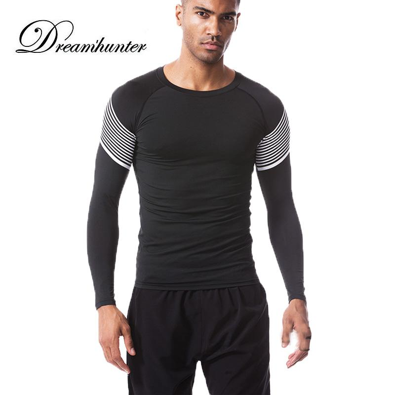 Mode Laufen Männer T-Shirt Long Sleeve Compression Enge T-Shirt Männer Bodybuilding Sportkleidung Breathable Männer Fitness-T-Shirt