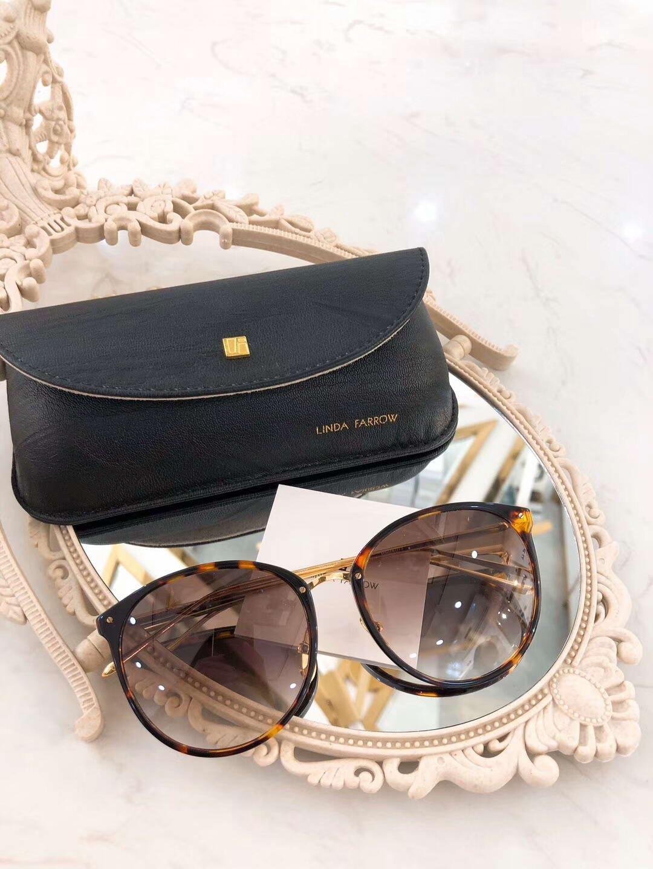 Linda Farrow LFL747 gafas de sol de oro Negro Lente Sonnenbrille diseñador de las mujeres de lujo gafas de sol Gafas de sol gafa con la caja