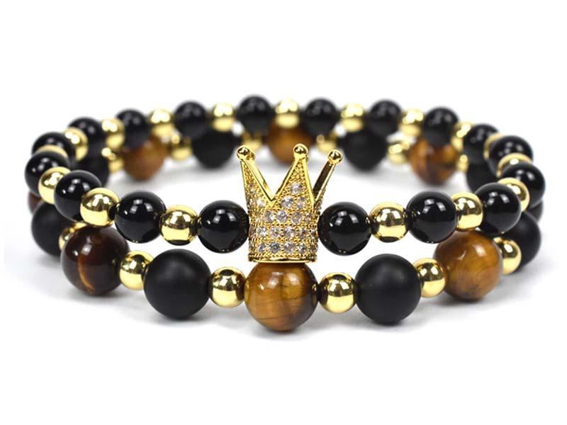 Charm Bracelet Men Fashion Luxury 2020 Fashion New Gold Royal Crown Braided Adjustable Men Bracelet For Jewelry Gift