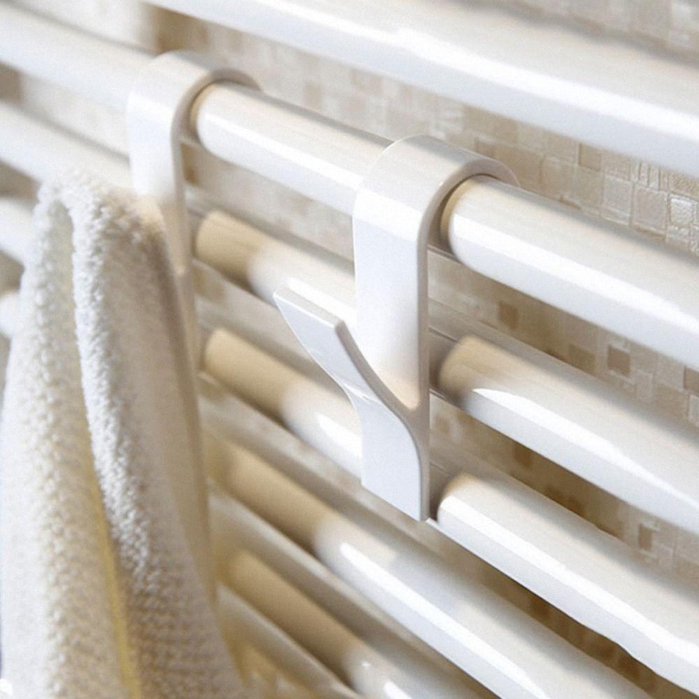 Y 5pcs forma de gancho para la suspensión de la toalla radiador toallero radiador tubular baño sostenedor del gancho de almacenamiento en rack de baño nPlJ #