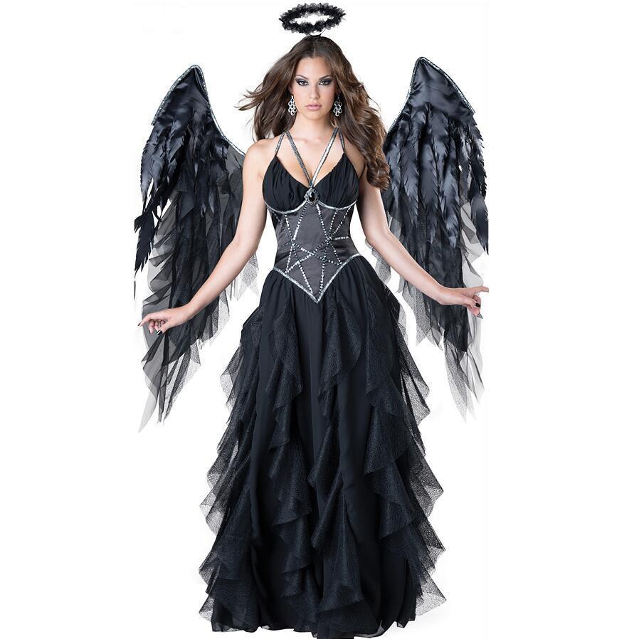 Traje de la bruja Negro correa de espagueti del remiendo del acoplamiento de Cosplay de las mujeres viste mujer oscuro Ángel atractivo del traje de Halloween de la mujer 3pcs