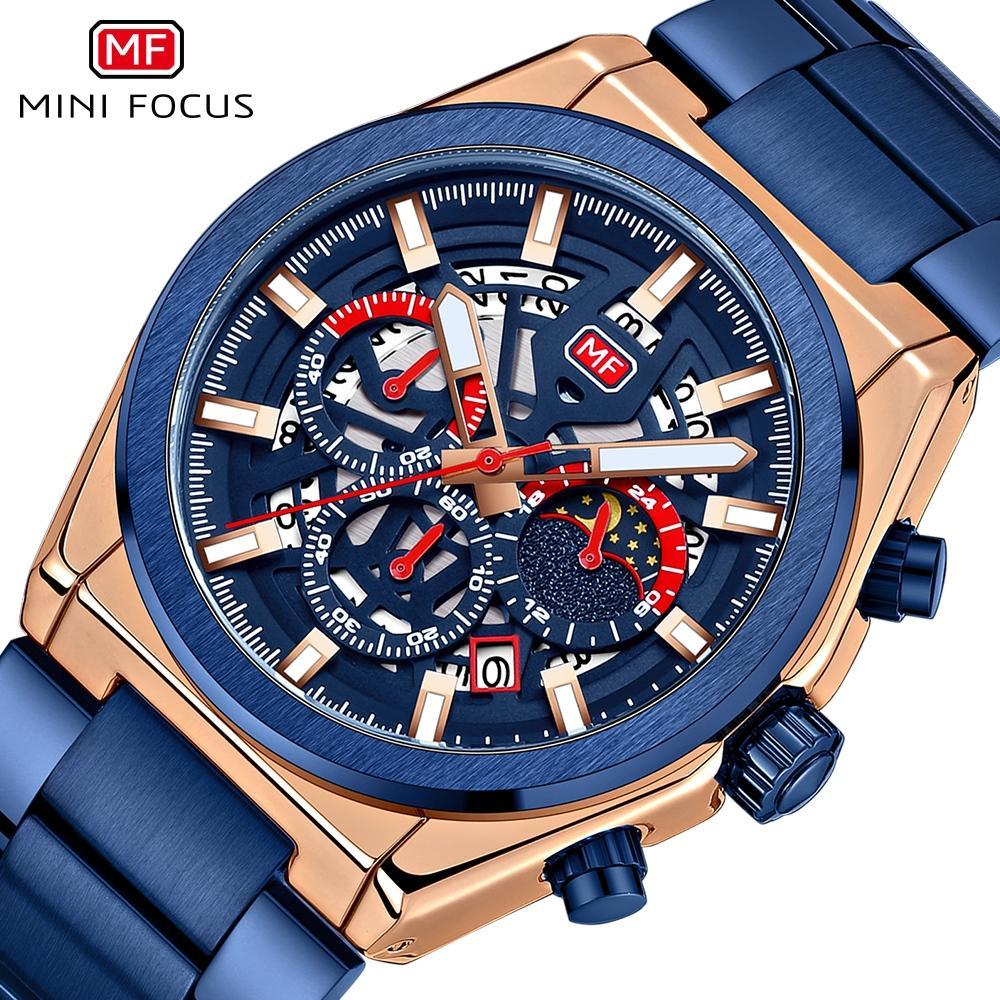 Minifokus Männer Geschäfts-Uhr-Quarz-Edelstahl-Band-Hohl Dial Oberflächenwasserdichte Mann-Armbanduhr-Band Gelegenheits Wriswatch Male Uhr