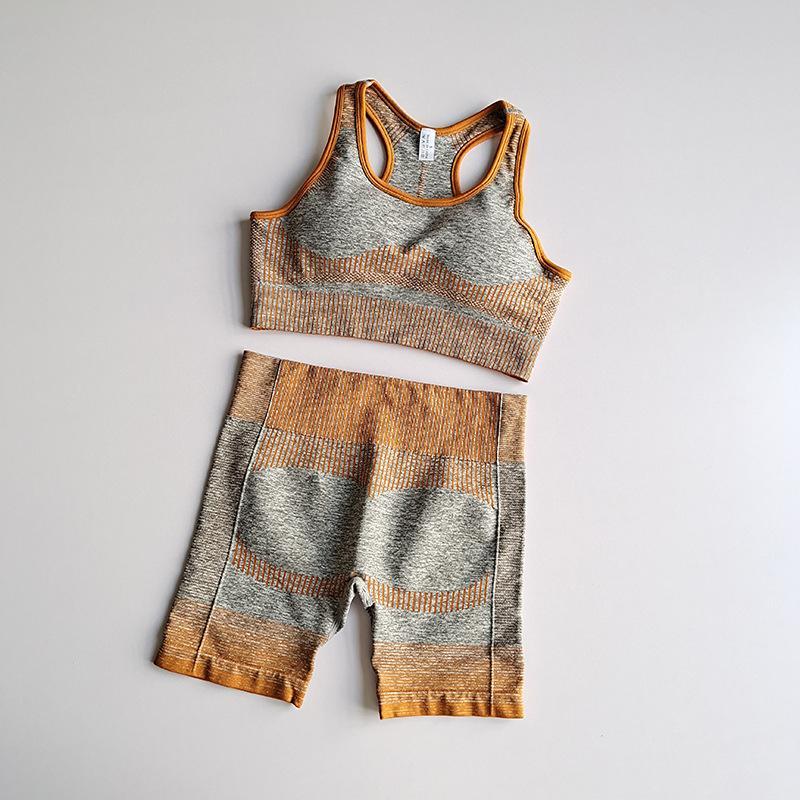 2pcs Mulheres Yoga Set Desportos de Verão Vital Seamless Suit Sport Bra roupas de ginástica Academia Top Curto cintura alta Shorts listrado Sportswear