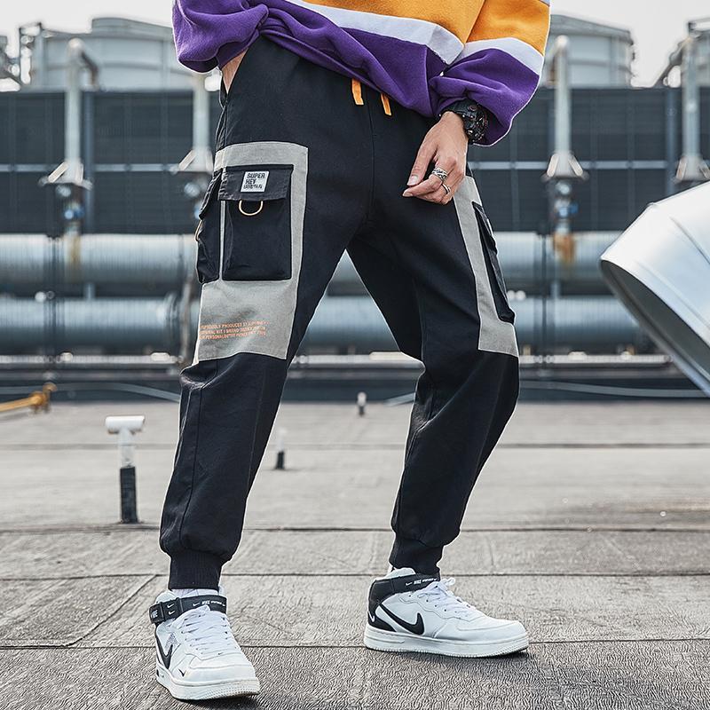 2020 남성 멀티 포켓화물 하렘 바지 힙합 캐주얼 남성 바지 조거 바지 패션 하라주쿠 streetwear 바지