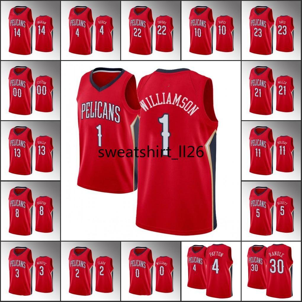 Hombres Brandon Ingram SionOrleans Williamson JJ Redick JrueDeclaración de la NBA de vacacionesPelícanos de encargo roja