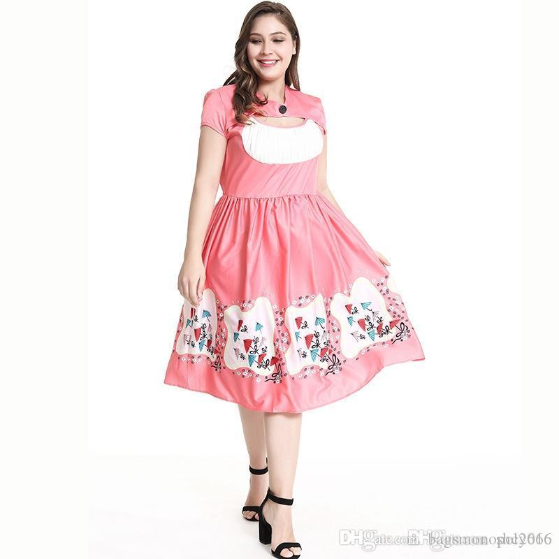 Women dress Round neck Pleated Short sleeve skirt fat BALL gown Sexy Hollow Out Lady Loose Waist Casual Dresses Large Plus Size XL-5XL
