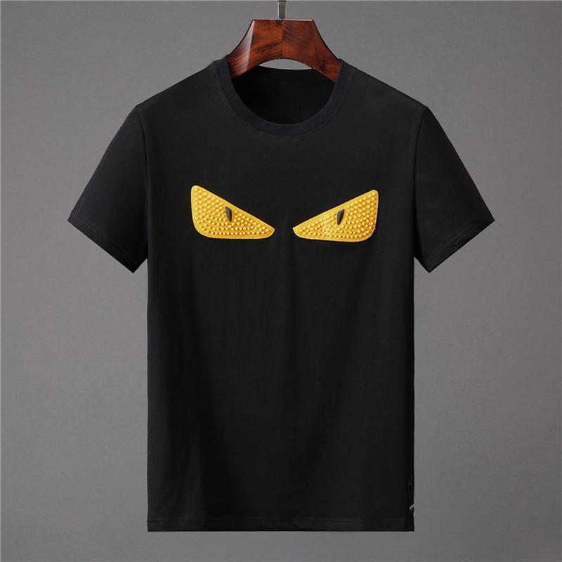 Männer-T-Shirts Schwarz Cotton Tees mit kurzen Ärmeln T Shirts Mode Street Hip Hop Sport beiläufigen Sommer-Tops