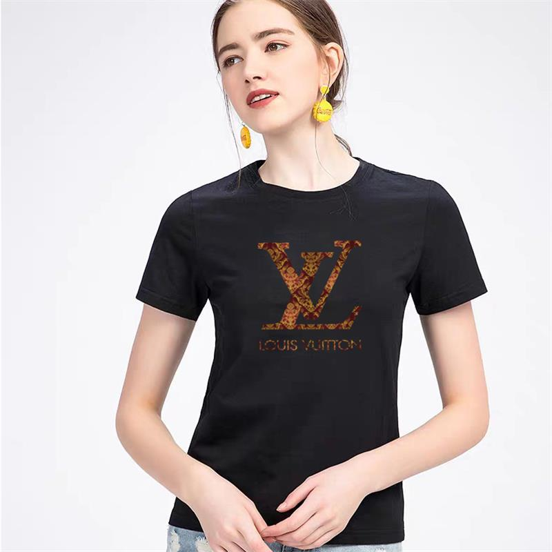 Womens L̴V Designer T Shirts 100% Cotton Black White Grey Red Yellow Fashion Crew Neck letter printed T-Shirt Short Sleeve S-5