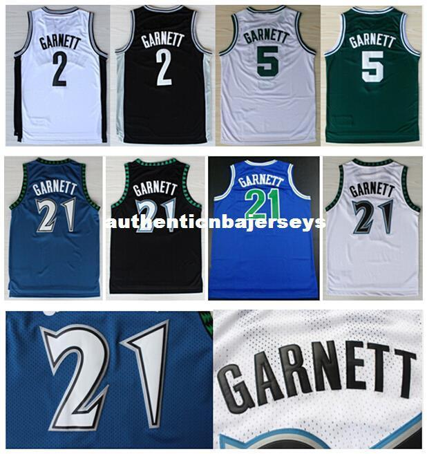 High Quality Stitched #21 Kevin Garnett Jerseys Black Blue White Basketball Jerseys Embroidery Logos Retro Cheap Ncaa College