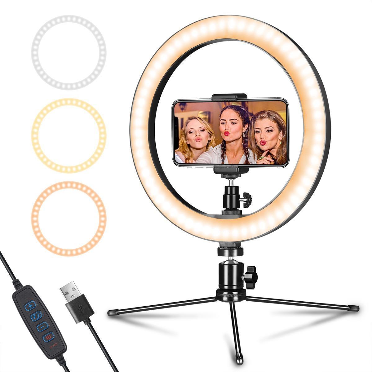 """10 """"الهاتف الخليوي سطح المكتب صورة شخصية عكس الضوء LED حلقة الضوء مع حامل ثلاثي القوائم موبايل لايف استوديو لليوتيوب بث مباشر ماكياج الكاميرا مصباح"""