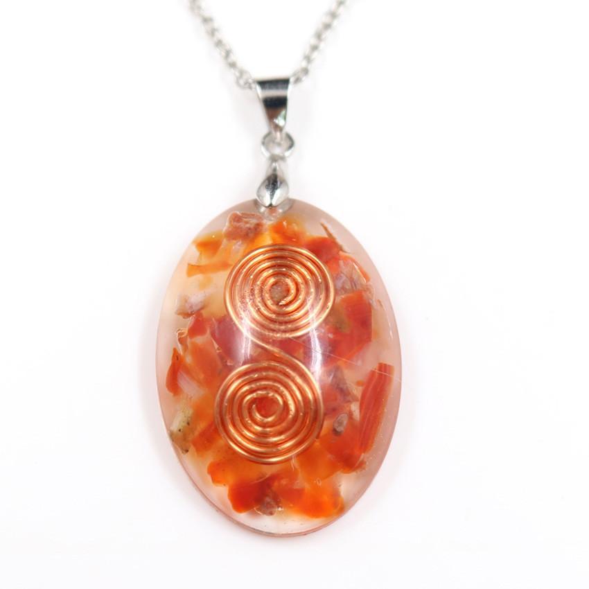 Venta al por mayor 10 piezas de oro rosa plateado Wire Wrap oval cornalina y resina joyas colgante, collar de lapislázuli Orgone Energy