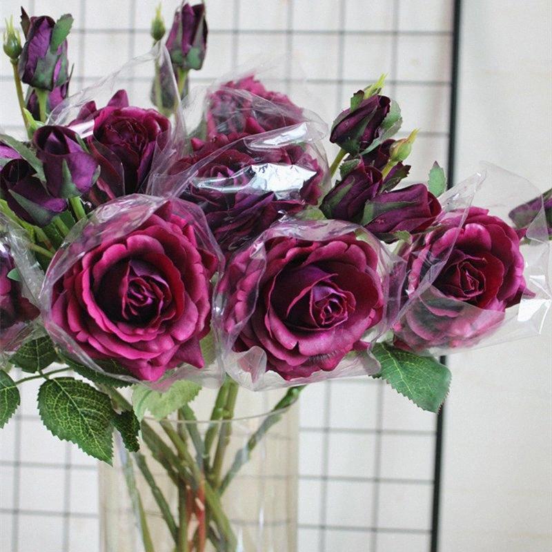 toucher réel des fleurs artificielles branche Rose pour la décoration de table de Noël Accueil chute de mariage Décorations florales flores artificiales roses V1jw #