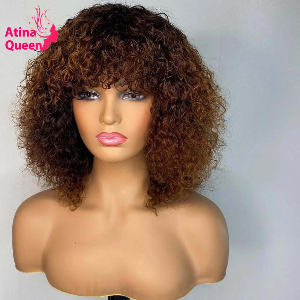 Honey Blonde Pixie Cut Afro Full Machine Made Wig Jerry Curl Short Bob Natural Hair Human Hair Wigs Pre plucked For Black Women