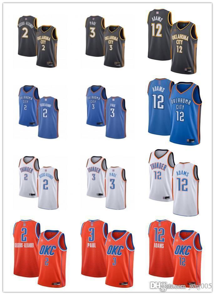 Mens Bayan GençlikOklahomaKentGök gürültüsü2 Shai Gilgeous-Alexander 3 ChrisPaul 12 Steven Adams Özel Basketbol Formaları