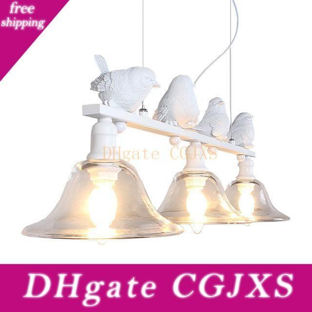 Contemporánea y lámpara restaurante rural contratada Droplight tres de la personalidad creativa de barras LED lámparas pájaros Droplight Resina araña de aves