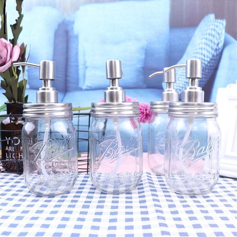 DIY мыло для рук Диспенсер насос из нержавеющей стали Люки Mason Jar Стекло Прозрачное Relief Гель для душа бутылки высокого качества 7ja E1