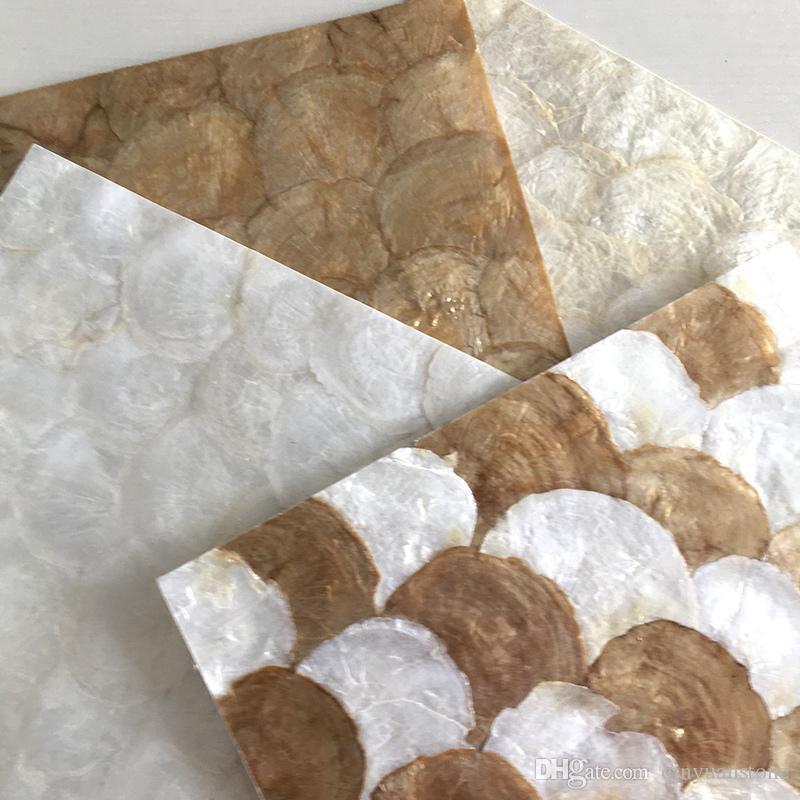 Fan forma da concha mosaico mãe de banho pérola telha o mosaico escama de peixe