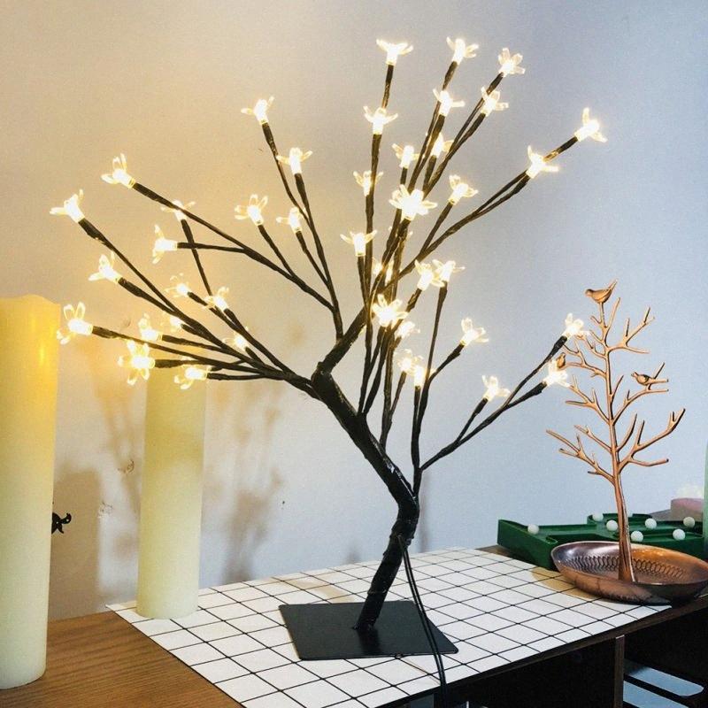 UE 48 Led Fleur de cerisier prunier Lampe de table Lampe Veilleuse Intérieur de maison Bar Banquet mariage Chambre Décoration Accessoires aGBQ #